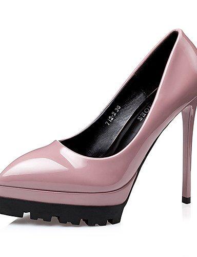 GS~LY Damen-High Heels-Kleid-Kunstleder-Stöckelabsatz-Absätze / Geschlossene Zehe / Spitzschuh-Schwarz / Rosa / Lila / Rot / Koralle / purple-us7.5 / eu38 / uk5.5 / cn38