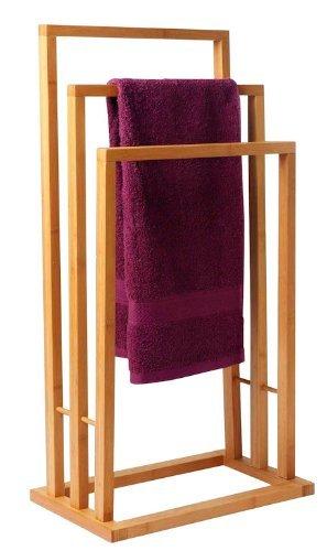 Spetebo Bambus Handtuchständer mit 3 Stangen - Handtuchalter aus Bambusholz (Holz-handtuchhalter)