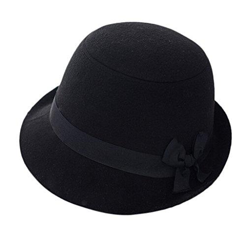 Retro invierno mujeres dama fieltro de lana Bowknot Decoración Campana  Derby Cap sombrero fef68034741
