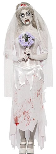 Braut Kostüm Zombie Kostüm (Smiffys, Damen Zombie-Braut Kostüm, Kleid, Schleier und Bouquet, Größe: S,)
