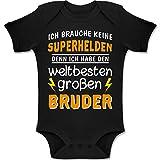 Shirtracer Geschwisterliebe Baby - Ich Habe den weltbesten großen Bruder - 1-3 Monate - Schwarz - BZ10 - Baby Body Kurzarm Jungen Mädchen