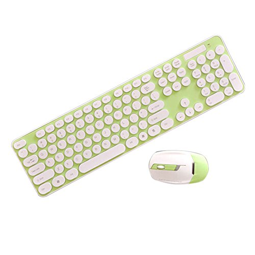 Espeedy 2.4 GHz Wireless Keyboard + Maus Smart Power-Spar Combo Schnurlose Runde Key Set für Laptop-Computer