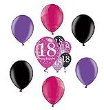 Feste Feiern Geburtstagsdeko Zum 18 Geburtstag I 12 Teile Luftballons Helium Pink Schwarz Violett metallic Party Deko Set Happy Birthday