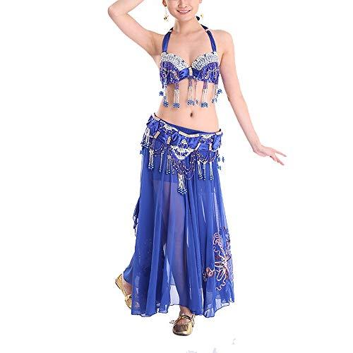 Crystal Belly Kostüm Dance - Bangxiu-Belly Dance Bauchtanz Kostüm Bauchtanz Kostüm for Frauen Tribal Bauchtanz BH und Gürtel Sexy Professionelle Tanzanzug Karneval BH Gürtel Sexy Tanzkleid-Outfit (Farbe : Blau, Größe : L)