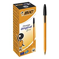 BIC Orange Original Fine Ballpoint Pens Fine Point (0.8 mm) - Black, Box of 20