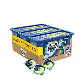 Dash Allin1 Pods Detersivo Lavatrice in Capsule Salva Colore, Maxi Formato 3 x 39 Pezzi, 117 Lavaggi