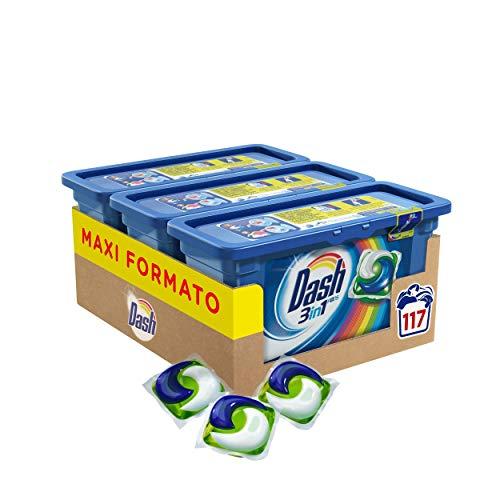 Dash Pods 3 in 1 Detersivo Lavatrice in Monodosi Salva Colore, Maxi Formato 3 x 39 da 117 Lavaggi