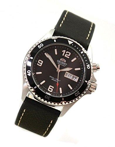 Orient orologio da sub, signor Orologio da polso Deep Black giorno DATA WCC cinturino in pelle cem65001