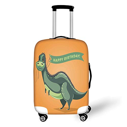 Travel Luggage Cover Suitcase Protector,Birthday Decorations,Funny Cartoon Dinosaur Holding Ribbon Birthday Greetings,Green Light Green Orange,for Travels 19x27.5Inch