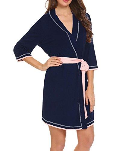 Unibelle Damen Bademantel Morgenmantel Nachtwäsche Kimono Schlafanzug Mit V Kragen Aus Baumwolle Nachthemd Saunamantel Dunkelblau
