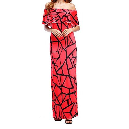 Minzhi Abito da donna con stampa floreale Boho Abito lungo con colletto alla caviglia Sexy senza maniche Lunghezza Club Longuette rosa rossa