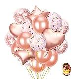 Festa Decorazioni Palloncini ,55 Pezzi Oro Rosa,Lattice, di Coriandoli, a Forma di Cuore e Stella Palloncini per Party, Matrimoni, Compleanni, Decorazione di Festa e Cerimonia Celebrazione