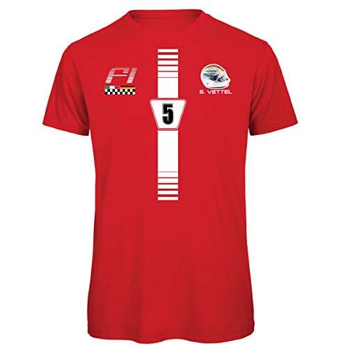 KiarenzaFD Formula Sebastian 5 Vettel UNO 1 Grand Prix Herren T-Shirt, KTS02209-XL-red, rot, XL