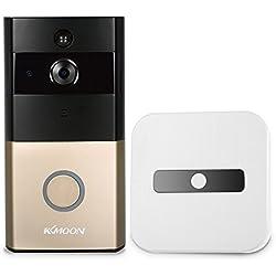 KKmoon Timbre para Puerta Inalámbrico HD 720P Bidireccional Visión Nocturna PIR para Android y IOS Control Remoto Tarjeta de Memoria Incorporada de 8 GB