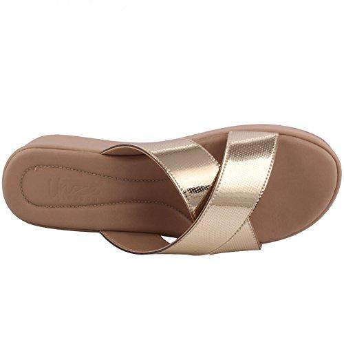 """Unze Frauen """"Sutton"""" Open Toe Festival Karneval Formal Dinner Flat Hausschuhe Schuhe Größe 3-8 - 4077 Gold"""