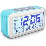 Réveil Digital Alarme Horloge Calendrier Numérique Précision Thermomètre avec Bouton Tactile et Écran LCD Affichage de Date et Température 2 Alarme d'Heure Séparée les Jeunes Enfants Adolescents - Bleu