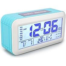 Despertador digital alarma reloj calendario Digital precisión termómetro con botón táctil y pantalla LCD gráfico de fecha y temperatura 2Alarma de hora séparée los jóvenes niños adolescentes–azul