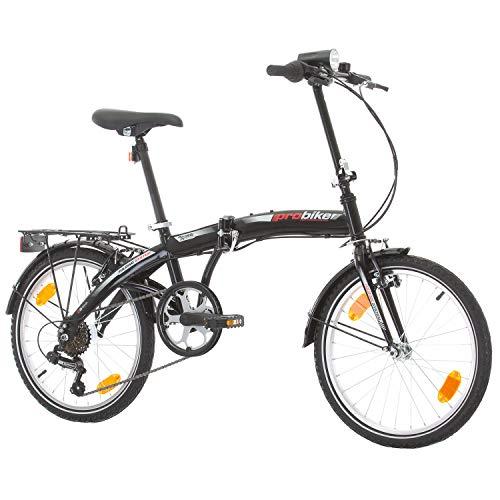 Multibrand, PROBIKE Folding 20 Klapprad Faltrad 20 Zoll, 310 mm, Folding City Bike, 6 Geschwindigkeit, Unisex, Vorne + Hinten Kotflügel, Shimano, Komplett montiert (Schwarz)