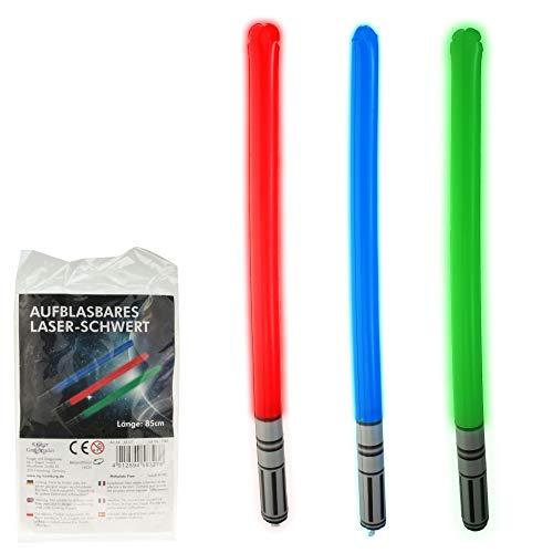 3 Stück aufblasbares Laser Schwert 85 cm, Laserschwert, Laser-Schwert, Schwert aufblasbar (Wars Spielzeug Star Schwert)