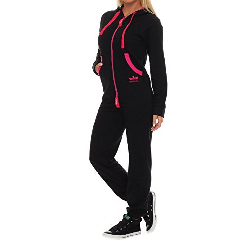 91T3 Finchgirl Pinked Damen Jumpsuit Jogger Einteiler Jogging Schwarz XL