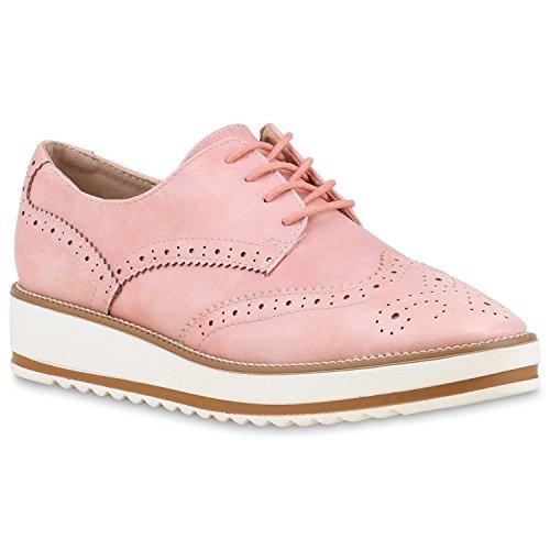 Stiefelparadies Stiefelparadies Damen Halbschuhe Brogues Keilabsatz 129824 Rosa 36 Flandell