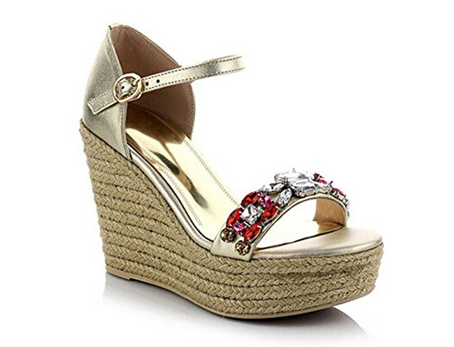 Braided Thong (Beauqueen Wedge Plantform Sandanls Open-Toe Pumps Damen Braided Ferse Knöchelriemen Sommer Casual Work Schuhe Gold Europa Größe 34-39 , gold , 37)