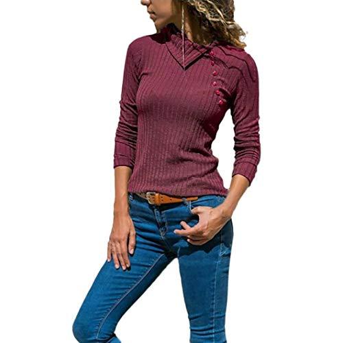 iYmitz DamenEinfarbig Reverskragen Langarm Knopfleiste Vorne Slim Sweater Bluse(Rot,EU-40/CN-M)