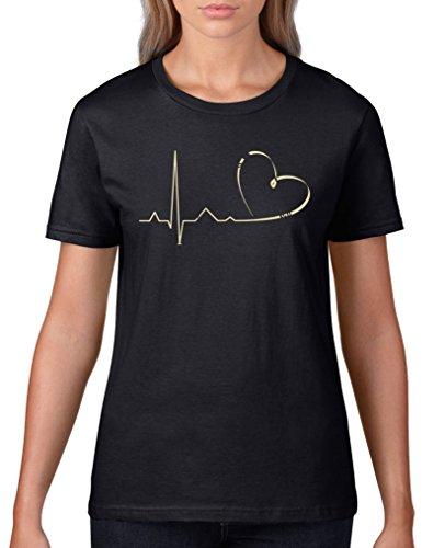 Comedy Shirts - Pulsschlag Herz - Damen T-Shirt - Schwarz/Beige Gr. XS