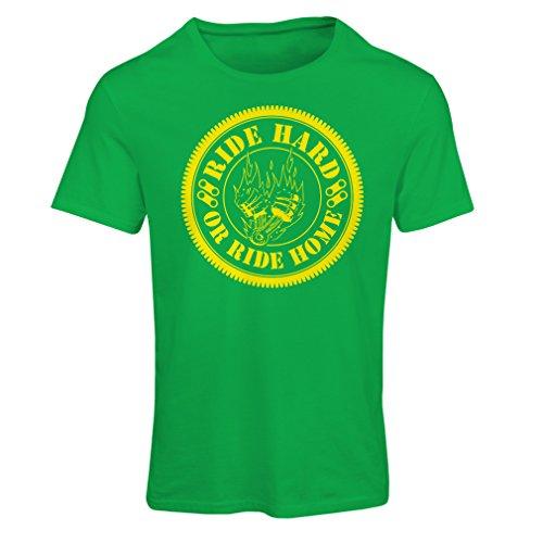 Frauen T-Shirt Ride Hard! Biker Clothing (Small Grün Mehrfarben)