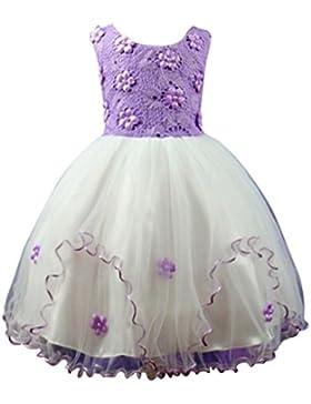 WanYang Niñas Princesa De Verano Vestido Sin Mangas De Cuello Redondo Vestido De Encaje Dama De Honor Fiesta De...