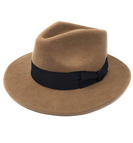 Herren Handgefertigt 100% Wollfilz Indiana Style Knautschfähig Fedora Hut, Camel, S - 55cm