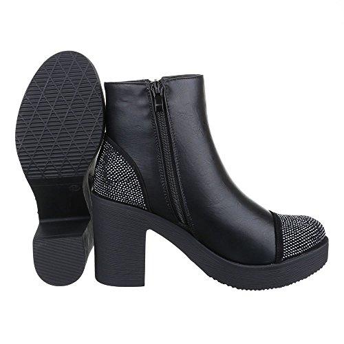 Ital-Design Boots / Bikerboots Damen Schuhe Biker Boots Blockabsatz Strass Besetzte Reißverschluss Stiefeletten Schwarz