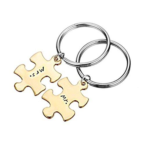Portachiavi lui e lei–coppie portachiavi–puzzle piece keychain set–mr. and mrs. portachiavi