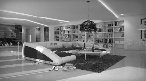 SAM® Sofa Garnitur schwarz / weiß / weiß Ciao rechts 205 x 355 x 250 cm designed by Ricardo Paolo Wohnlandschaft futuristisch Wohnzimmer Sofa Landschaft pflegeleichte Oberfläche Lieferung mit Spedition Artikel ist montiert - 4