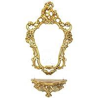 Console dorée avec miroir pour entrée Style vintage imitation de meuble Louis XVI