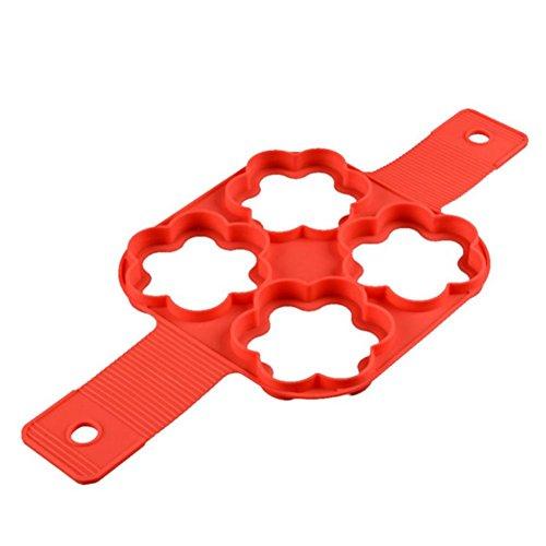 Nonstick Silikon Ei Ring Pfannkuchen Form, Neue verbesserte Silikon auslaufsichere Design, Fantastic Fast&Einfache Möglichkeit Perfekte Pancakes (Mikrowelle Ei-ring)