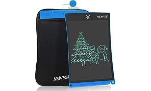 NEWYES Tablet da Scrittura LCD Portatile con Custodia, Lunghezza 8,5 Pollici, Vari Colori (Blu + Caso)