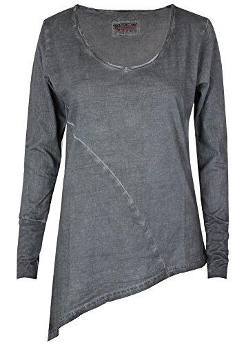 trueprodigy Casual Damen Marken Long Sleeve einfarbig Basic, Oberteil cool und stylisch mit V-Ausschnitt (Langarm & Slim Fit), Top für Frauen in Farbe: Anthra 1063175-0403-S