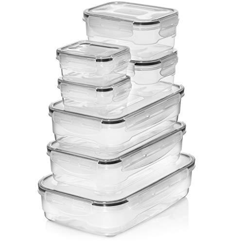 Contenitori ermetici di alta qualità, 7 pezzi, coperchio facile da chiudere, adatti a microonde, freezer e lavastoviglie, perfetti per la preparazione dei pasti o per alimenti.