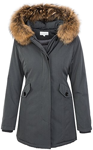 Damen Echtfell Winter Jacke Parka Kapuze Designer Damenjacke Outdoor  D-204  - Grey - 01810ab606