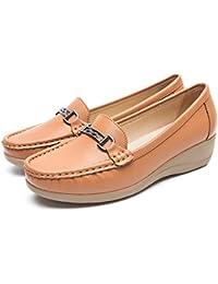 Zapatos Plataforma Cuña Negros para Mujer - Cestfini Mocasínes Cómodos de Las Señoras, Casual Planos Loafers, Adecuado para Todas Las Estaciones