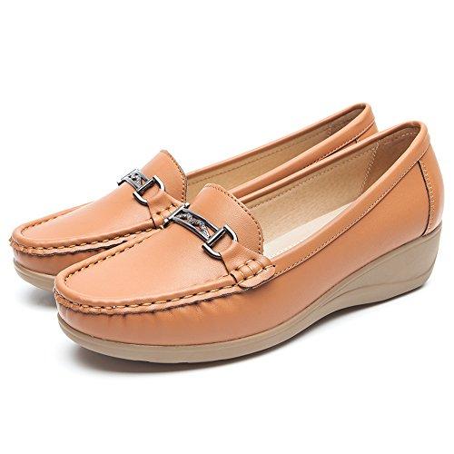 Nero pelle mocassini scarpe per donna - cestfini comode flat loafers donna, la scelta migliore per camminare, scarpe con zeppa platform, per tutte le stagioni sh001-brown-37