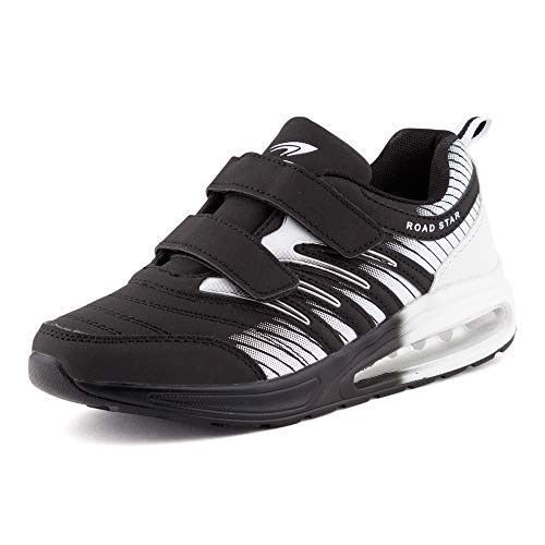 Fusskleidung Damen Herren Sportschuhe Klettverschluss Sneaker Dämpfung Neon Laufschuhe Runners Gym Unisex Schwarz Weiß EU 40