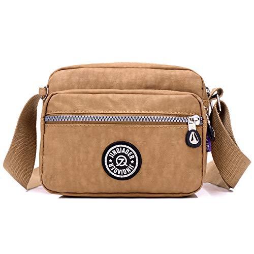 Nuova borsa da donna tracolla diagonale tela di colore solido vecchia borsa da donna multistrato con cerniera impermeabile tasche in nylon beige mo