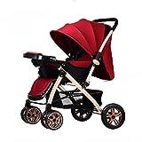 Poussettes citadines Poussette bébé peut s'asseoir inclinable léger pliant à quatre roues bébé poussette Plateau Grand panier de rangement Poussette ( Color : Red , Taille : 41*31*18 inches )