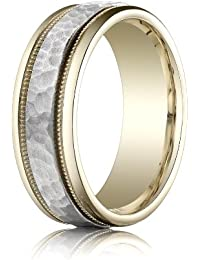 14ct 2 Colour Gold, 8mm Comfort-Fit Hammered Milgrain Band (sz H to Z5)