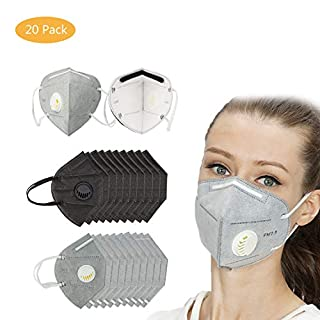 20 Pack N95 Dust Mask Disposable, Respirator Face Mouth Masks with Exhalation Valve 5 Layer Activated Carbon Air Filter Adjustable Nosepiece Unisex Fold Flat Dust Masks