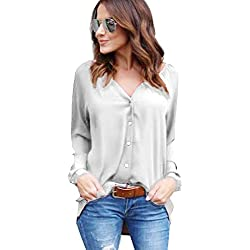 Yidarton Damen Bluse Chiffon Langarm Oberteile Elegante Mode Hemd Asymmetrisch Top, Gr:-42 EU, Farbe:-Casual-grau L