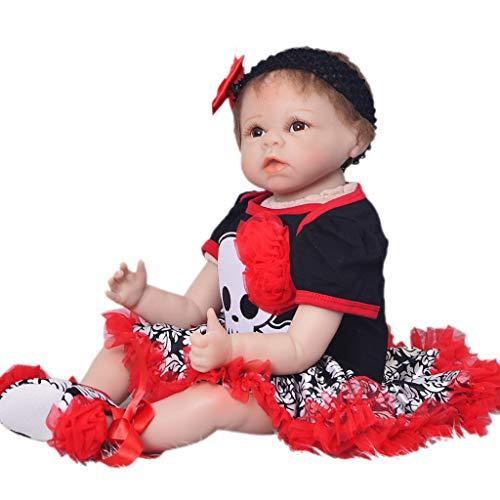 perfeclan 22 Zoll Lebensechte Vinyl Babypuppe Spielzeug, Weiche Baby Puppe Funktionspuppe mit Halloween/Weihnachten Kostüm, Geburtstagsgeschenke für Kinder - ()