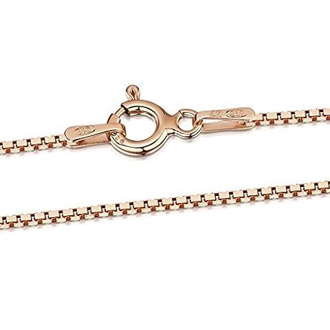 Amberta® Bijoux - Collier - Chaîne Argent 925/1000 - Plaqué Or Rosé 14K - Maille Vénitienne - Largeur 1 mm - Longueur 40 45 50 55 60 cm (60cm)